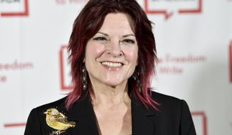 FILE - In this May 22, 2018 file photo, Rosanne Cash attends the 2018 PEN Literary Gala in New York. Cash will receive the Spirit of Americana Free Speech award from the Americana Music Association on Wednesday, Sept. 12, following in her father Johnny Cash's footsteps. He was the first artist to receive that award in 2002. (Photo by Evan Agostini/Invision/AP, File)