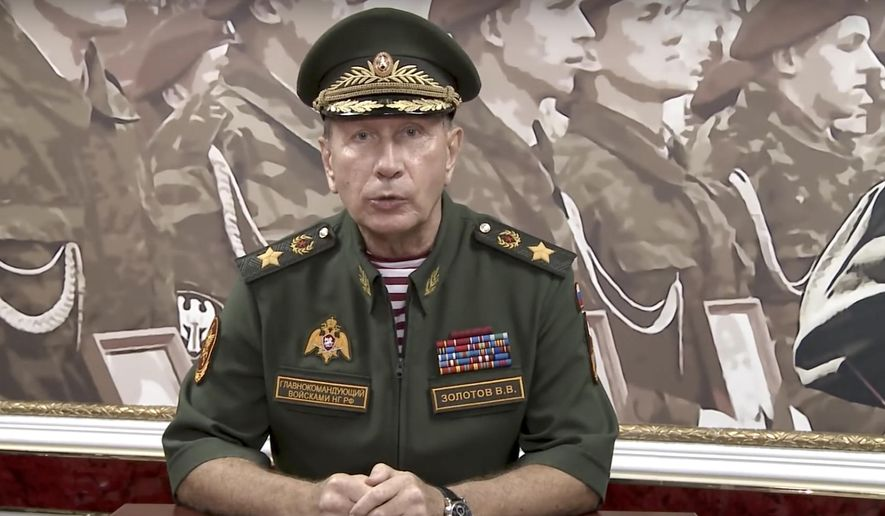 In this video grab taken from Rosguardia official website, National Guard chief Viktor Zolotov speaks as he records an emotional speech, posted on the National Guard's YouTube channel in Moscow, Russia, Tuesday, Sept. 11, 2018. President Vladimir Putin's former bodyguard and chief of the National Guard has challenged opposition leader Alexei Navalny to a duel. (Rosguardia Press Service via AP)