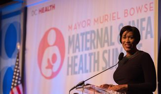 D.C. Mayor Muriel Bowser addresses a crowd of nearly 1,000 people at the inaugural Maternal and Infant Health Summit head Wednesday in the capital.