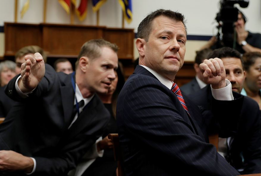 A text message exchange between then-FBI Deputy Assistant Director Peter Strzok and FBI attorney Lisa Page showed a deliberate strategy in 2017 to leak anti-Trump stories. (Associated Press) **FILE**