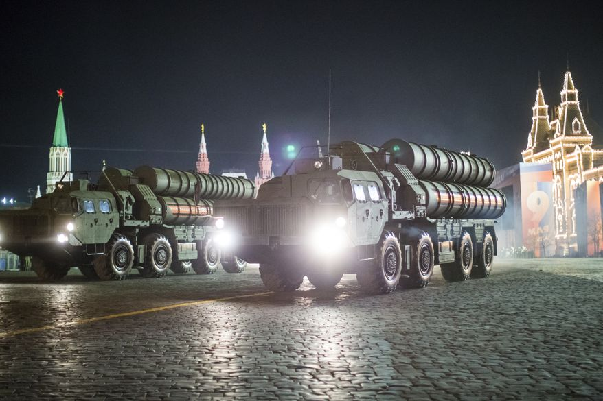 A Russian S-400 air defense missile system drives during a rehearsal for the Victory Day military parade in Red Square on Thursday, May 3, 2018. The parade will take place at Moscow's Red Square on May 9 to celebrate 73 years of the victory in WWII. (AP Photo/Alexander Zemlianichenko)