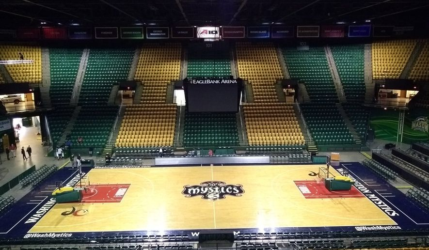 EagleBank Arena in Fairfax, Virginia, prepares to host Game 3 of the 2018 WNBA Finals between the Washington Mystics and Seattle Storm. The arena is normally home to the George Mason University men's and women's basketball programs. (Photo courtesy of Twitter / @MasonWBB)