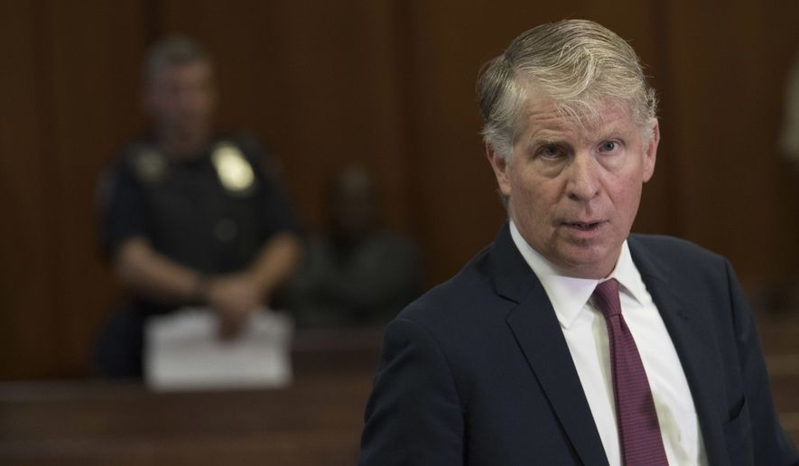 Manhattan District Attorney, Cyrus Vance Jr., speaks to reporters after a hearing in Manhattan criminal court, Wednesday, Sept. 12, 2018, in New York. Vance successfully asked a court on Wednesday to scrap more than 3,000 warrants for people who missed court dates in marijuana possession cases. It also tossed out the misdemeanor and violation-level marijuana cases themselves. Some dated to the 1970s. (AP Photo/Mary Altaffer)