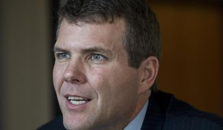 In a Wednesday April 18, 2018 photo, Alabama gubernatorial candidate Walt Maddox is shown at the Montgomery Advertiser offices in Montgomery, Ala. Alabama Gov. Kay Ivey on Wednesday, Sept. 12, 2018, said she has no plans to debate Maddox, her Democratic challenger, as she seeks a full term in office. (Mickey Welsh/The Montgomery Advertiser via AP)