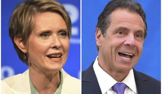FILE - In this combination of file photos, New York gubernatorial candidate Cynthia Nixon, left, speaks during a Democratic primary debate in Hempstead, N.Y., on Aug. 29, 2018, and Gov. Andrew Cuomo speaks at a press conference in New York on July 18, 2018. Democratic primary voters in New York on Thursday, Sept. 13 will settle the primary battle between two-term Cuomo and liberal challenger Nixon. (J. Conrad Williams Jr./Newsday Pool, and Evan Agostini/Invision, File)