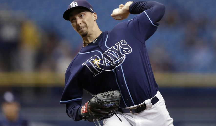 Tampa Bay Rays' Blake Snell pitches to the Cleveland Indians during the first inning of a baseball game Wednesday, Sept. 12, 2018, in St. Petersburg, Fla. (AP Photo/Chris O'Meara)