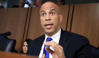 "In this Sept. 4, 2018, photo, Senate Judiciary Committee member Sen. Cory Booker, D-N.J. speaks during the committee's Supreme Court nominee Brett Kavanaugh's nominations hearing on Capitol Hill in Washington. Bookerhas released a new batch of ""committee confidential"" documents about Kavanaugh, even after a conservative judicial group referred his earlier disclosures to the Senate Ethics Committee. The documents released Sept. 12 show Kavanaugh's involvement in President George W. Bush-era judicial nominations, including some that were controversial. Judicial Watch wants the Ethics Committee to investigate as a possible violation of Senate rules. (AP Photo/Manuel Balce Ceneta)"