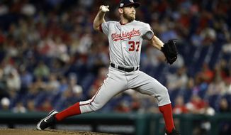 Washington Nationals' Stephen Strasburg pitches during the second inning of a baseball game against the Philadelphia Phillies, Wednesday, Sept. 12, 2018, in Philadelphia. (AP Photo/Matt Slocum)