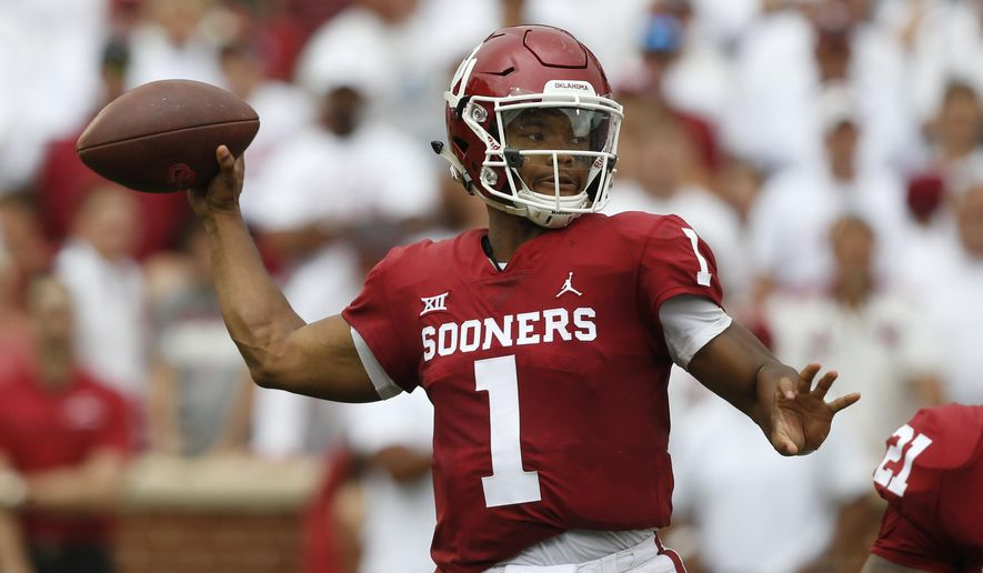 FILE - In this Saturday, Sept. 8, 2018, file photo, Oklahoma quarterback Kyler Murray (1) throws during an NCAA college football game against UCLA, in Norman, Okla. The pressure on Murray just increased now that running back Rodney Anderson is out for the season. (AP Photo/Sue Ogrocki, File)