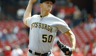 Pittsburgh Pirates starting pitcher Jameson Taillon throws during the first inning of a baseball game against the St. Louis Cardinals Wednesday, Sept. 12, 2018, in St. Louis. (AP Photo/Billy Hurst)