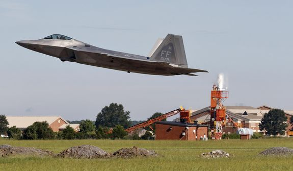 An F-22 departs Langley Air Force Base, Va., Tuesday morning, Sept. 11, 2018, as Hurricane Florence approaches the Eastern Seaboard. Officials from Joint Base Langley-Eustis in Hampton said the base's F-22 Raptors and T-38 Talon training jets, as a precaution, were headed for Rickenbacker Air National Guard Base in central Ohio. (Jonathon Gruenke/The Daily Press via AP)