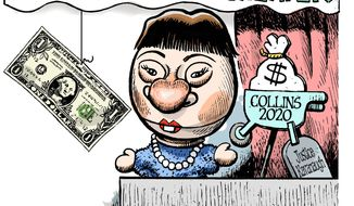 Illustration on attempts to bribe Senator Susan Collins by Alexander Hunter/The Washington Times