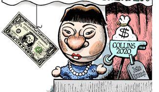 Illustration on attempts to bribe Senator Susan Collins by Alexander Hunter/The Washington Times
