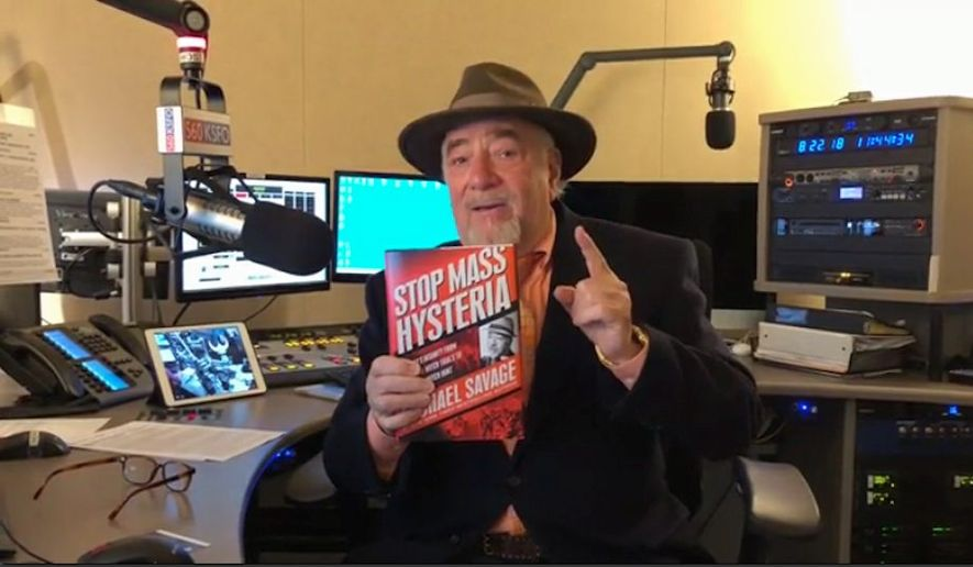 "Talk radio host Michael Savage does not mince words in his 26th book, titled ""Stop Mass Hysteria: America's Insanity from the Salem Witch Trials to the Trump Witch Hunt,"" which will be published Oct. 9. (Courtesy of Center Street Books)"