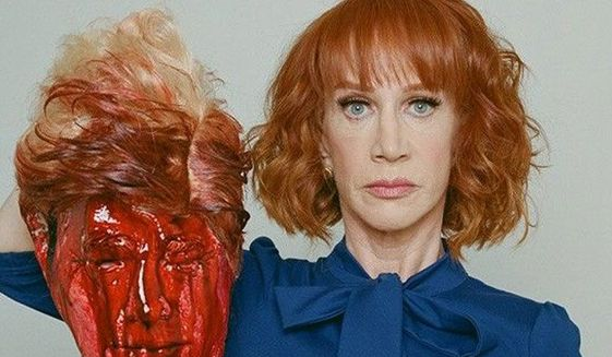 Comedian Kathy Griffin became a public pariah in 2017 when she was photographed holding a fake severed head depicting President Trump. (Associated Press) **FILE**