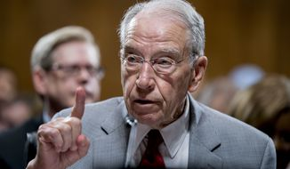 Senate Judiciary Committee Chairman Chuck Grassley, R-Iowa, speaks during a Senate Judiciary Committee markup meeting on Capitol Hill, Thursday, Sept. 13, 2018, in Washington. (AP Photo/Andrew Harnik)