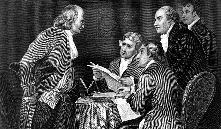"""This image provided by the National Archives shows the 19th century engraving """"Drafting the Declaration of Independence in 1776, 1859"""" by Alonzo Chappel which depicts of the the committee chosen to draft a declaration of independence. The five members are, from left, Benjamin Franklin, Thomas Jefferson, John Adams, Philip Livingston and Roger Sherman. One of the nation's founding fathers -- but never president -- Franklin was born to a soapmaker and earned his wealth as printer, publisher and inventor. (Alonzo Chappel/National Archives via AP)"""