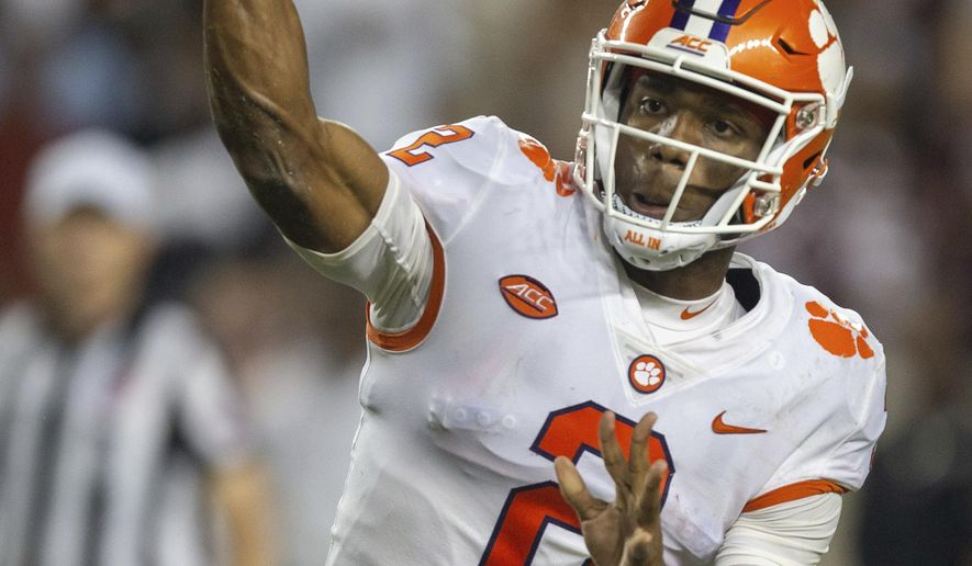 Clemson quarterback Kelly Bryant (2) passes downfield against Texas A&M during the second half of an NCAA college football game Saturday, Sept. 8, 2018, in College Station, Texas. (AP Photo/Sam Craft)