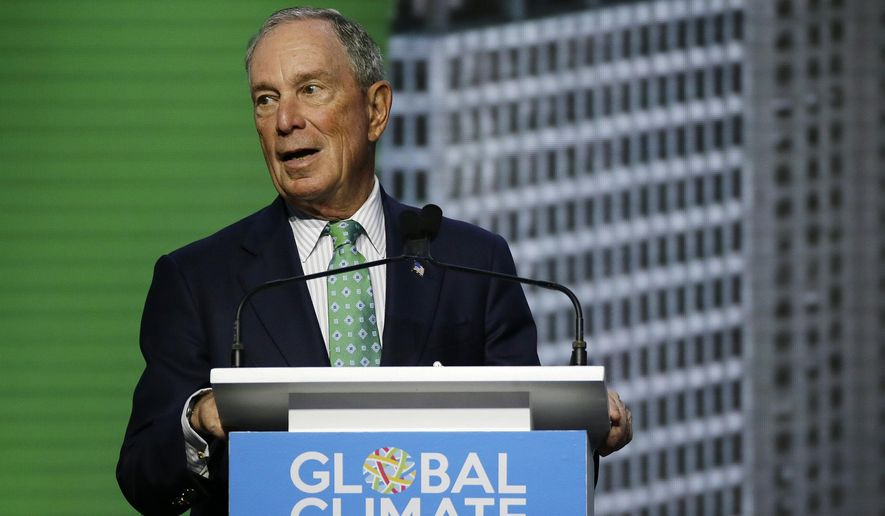 Michael Bloomberg, the UN Secretary-General's Special Envoy for Climate Action, speaks during the plenary session of the Global Action Climate Summit on Sept. 13, 2018, in San Francisco. (Associated Press) **FILE**