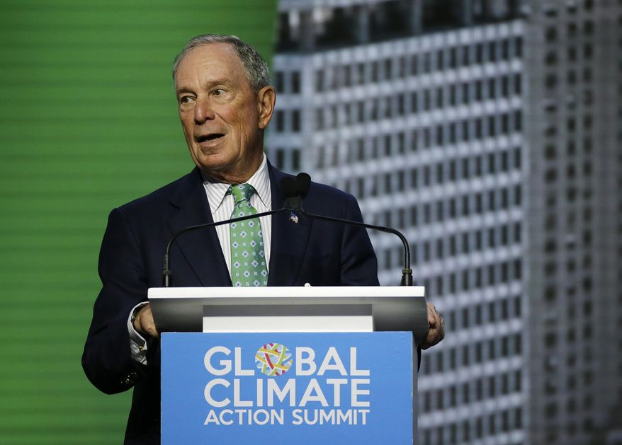 Michael Bloomberg, the U.N. Secretary-General's Special Envoy for Climate Action, speaks during the plenary session of the Global Action Climate Summit on Sept. 13, 2018, in San Francisco. (Associated Press) ** FILE **