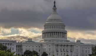 This Wednesday, Aug. 1, 2018, photo shows the Capitol in Washington. As a potentially catastrophic hurricane heads for the Carolinas, Congress is moving to avert a legislative disaster that could lead to a partial government shutdown just weeks before the November midterm elections. (Associated Press) **FILE**