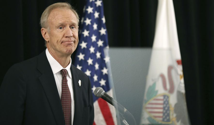 Illinois Gov. Bruce Rauner speaks Thursday, Sept. 13, 2018, at the Chicago Hilton, where he gave a speech outlining his campaign for re-election. (Chris Walker/Chicago Tribune via AP)