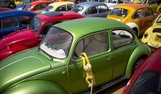 "FILE- In this April 21, 2017, file photo Volkswagen Beetles displayed during the annual gathering of the ""Beetle club"" in Yakum, central Israel. Volkswagen says it will stop making its iconic Beetle in July of next year. Volkswagen of America on Thursday, Sept. 13, 2018, announced the end of production of the third-generation Beetle by introducing two final special editions. (AP Photo/Oded Balilty, File)"