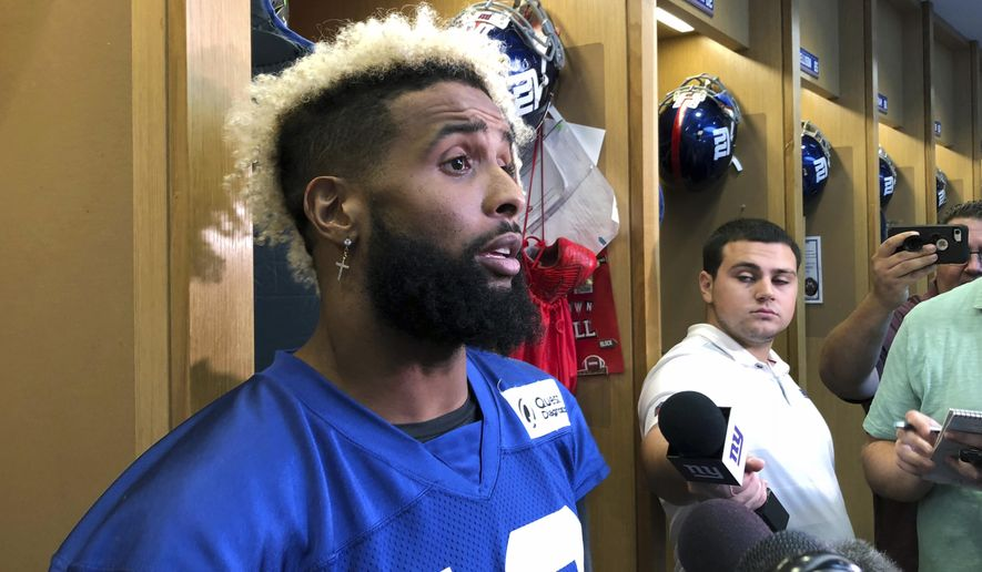 New York Giants' Odell Beckham Jr. talks to reporters in East Rutherford, N.J., Thursday, Sept. 13, 2018. The Giants play the Dallas Cowboys on Sunday in Arlington, Texas. (AP Photo/Tom Canavan)