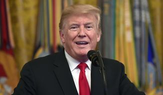 In this Sept. 12, 2018, file photo, President Donald Trump speaks during a Congressional Medal of Honor Society Reception in the East Room of the White House in Washington. (AP Photo/Susan Walsh, File)