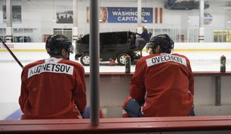 Washington Capitals' Alex Ovechkin, right, and Evgeny Kuznetsov, left, both of Russia, talk on the bench as the ice is resurfaced during NHL hockey training camp, Friday, Sept. 14, 2018, in Arlington, Va. (AP Photo/Nick Wass) ** FILE **
