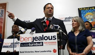 FILE - In this June 27, 2018 file photo, Maryland Democratic gubernatorial candidate Ben Jealous speaks at a news conference alongside his running mate Susie Turnbull, right, in Baltimore. The history-making gubernatorial runs by Stacey Abrams of Georgia, Andrew Gillum of Florida and Jealous of Maryland are turning them into stars nationwide and at the Congressional Black Caucus annual legislative conference. If elected, Abrams, Jealous and Gillum, would give America its largest number of black governors ever. (AP Photo/Patrick Semansky, File)