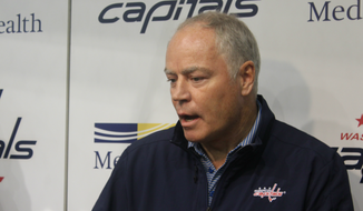 Washington Capitals general manager Brian MacLellan talks to reporters at the team's media day before the 2018-19 NHL season at MedStar Capitals Iceplex in Arlington, Virginia, on Friday, Sept. 14. (Photo by Adam Zielonka / The Washington Times)