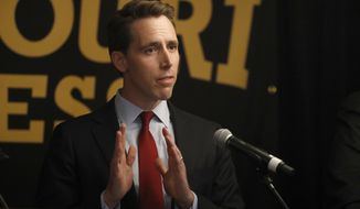 Republican U.S. Senate candidate Josh Hawley speaks during a candidate forum at the annual Missouri Press Association convention Friday, Sept. 14, 2018, in Maryland Heights, Mo. (AP Photo/Jeff Roberson)