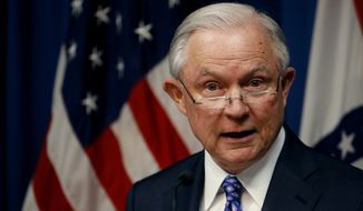 Attorney General Jeff Sessions talks about efforts to combat violent crime during a stop at the U.S. Attorney's Office Thursday, Sept. 13, 2018, in Kansas City, Mo.(AP Photo/Charlie Riedel) ** FILE **