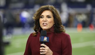 In this Nov. 19, 2017, file photo NBC sideline reporter Michele Tafoya reports before an NFL football game between the Philadelphia Eagles and Dallas Cowboys in Arlington, Texas. Tafoya will work her 250th NFL game as a sideline reported on Sunday night at AT&T Stadium when the Cowboys host the Giants. That's one of the favorite venues for Tafoya, who also has done games for ABC and ESPN and now is with NBC. (AP Photo/Ron Jenkins, File)