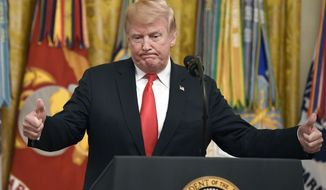 President Donald Trump speaks during a Congressional Medal of Honor Society reception in the East Room of the White House in Washington. (AP Photo/Susan Walsh, File)