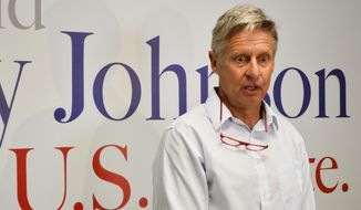 FILE--In this Aug 16, 2018, file photo, former Libertarian presidential candidate Gary Johnson talks to reporters about his decision to join the U.S. Senate race in New Mexico. Johnson is disclosing his personal financial interests in the cannabis sector. (AP Photo/ Russell Contreras, file)