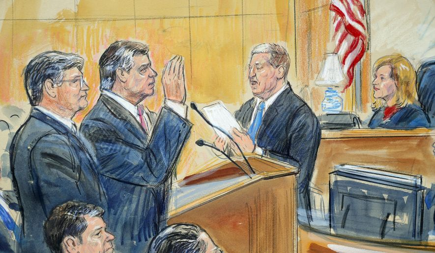 """This courtroom sketch depicts former Donald Trump campaign chairman Paul Manafort, center, and his defense lawyer Richard Westling, left, before U.S. District Judge Amy Berman Jackson, seated upper right, at federal court in Washington, Friday, Sept. 14, 2018, as prosecutors Andrew Weissmann, bottom center, and Greg Andres watch. Manafort has pleaded guilty to two federal charges as part of a cooperation deal with prosecutors. The deal requires him to cooperate """"fully and truthfully"""" with special counsel Robert Mueller's Russia investigation. The charges against Manafort are related to his Ukrainian consulting work, not Russian interference in the 2016 presidential election. (Dana Verkouteren via AP)"""