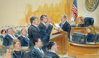 "This courtroom sketch depicts former Donald Trump campaign chairman Paul Manafort, center, and his defense lawyer Richard Westling, left, before U.S. District Judge Amy Berman Jackson, seated upper right, at federal court in Washington, Friday, Sept. 14, 2018, as prosecutors Andrew Weissmann, bottom center, and Greg Andres watch. Manafort has pleaded guilty to two federal charges as part of a cooperation deal with prosecutors. The deal requires him to cooperate ""fully and truthfully"" with special counsel Robert Mueller's Russia investigation. The charges against Manafort are related to his Ukrainian consulting work, not Russian interference in the 2016 presidential election. (Dana Verkouteren via AP)"