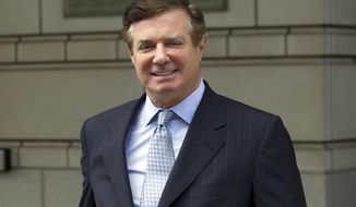 FILE - In this May 23, 2018, file photo, Paul Manafort, President Donald Trump's former campaign chairman, leaves the Federal District Court after a hearing, in Washington. A federal judge in Washington has denied Paul Manafort's request to move his second trial from the District of Columbia. U.S. District Judge Amy Berman Jackson says Manafort hasn't shown that he couldn't pick an impartial jury in the District of Columbia due to pre-trail publicity.   (AP Photo/Jose Luis Magana, File)