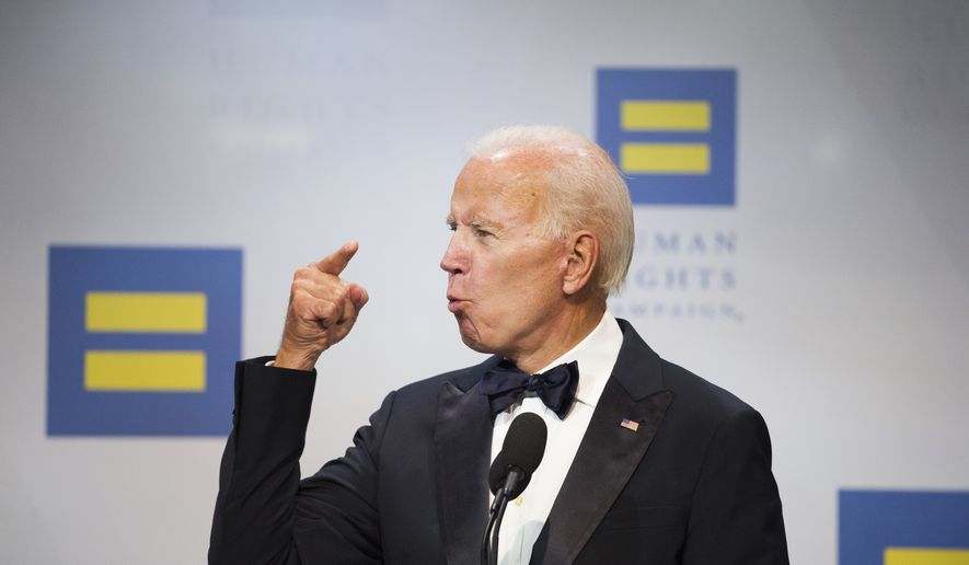 Former Vice President Joe Biden addresses the Human Rights Campaign National Dinner in Washington, D.C., Saturday, Sept. 15, 2018. (AP Photo/Cliff Owen)