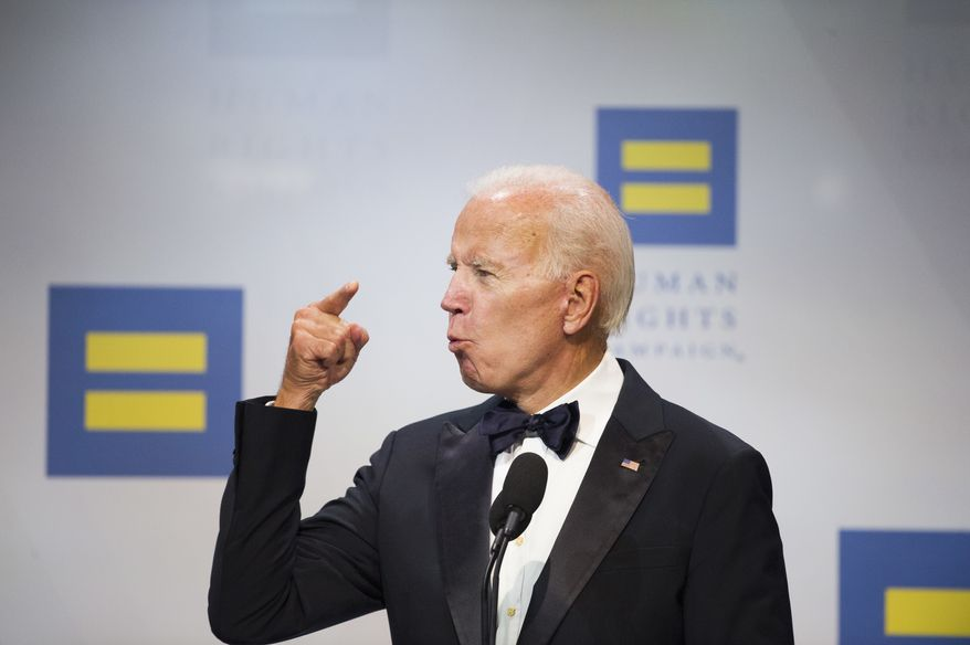 Former Vice President Joe Biden addresses the Human Rights Campaign National Dinner in Washington, D.C., Saturday, Sept. 15, 2018. (AP Photo/Cliff Owen)