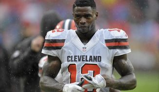 FILE - In this Sunday, Sept. 9, 2018 file photo, Cleveland Browns receiver Josh Gordon walks off the field after an NFL football game against the Pittsburgh Steelers in Cleveland. Josh Gordon's troubled tenure with the Cleveland Browns has ended. The team announced Saturday night, Sept. 15, 2018 that it intends to release the former Pro Bowl wide receiver, whose immense talent has been overshadowed by substance abuse that has derailed a promising career. (AP Photo/David Richard, File)
