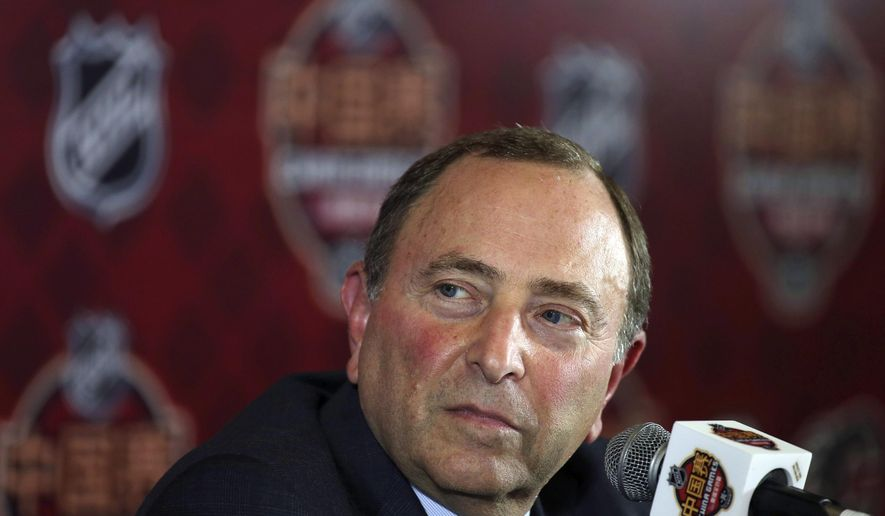 NHL Commissioner Gary Bettman attends a press conference before an NHL China Games hockey game between the Boston Bruins and the Calgary Flames in Shenzhen in southern China's Guangdong province, Saturday, Sept. 15, 2018. (Color China Photo via AP)