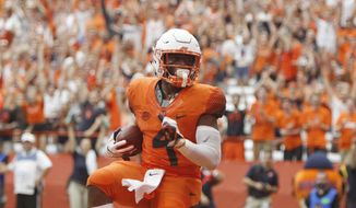 Syracuse's Dontae Strickland dances in the end zone after scoring a touchdown in the fourth quarter of an NCAA college football game against Florida State in Syracuse, N.Y., Saturday, Sept. 15, 2018. Syracuse won 30-7. (AP Photo/Nick Lisi)