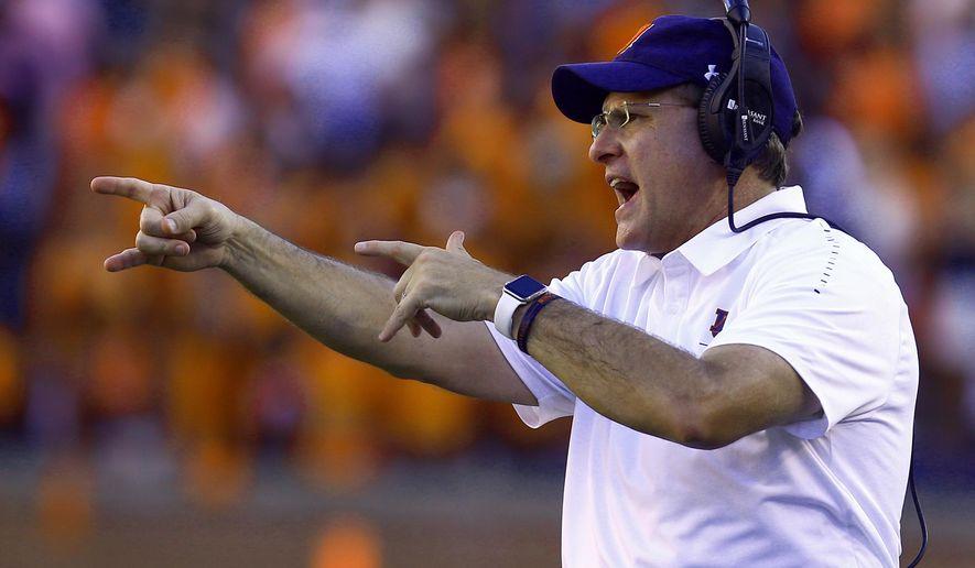 Auburn head coach Gus Malzahn reacts during the second half of an NCAA college football game against LSU, Saturday, Sept. 15, 2018, in Auburn, Ala. (AP Photo/Butch Dill)