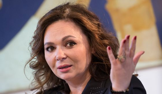 In this Sunday, April 22, 2018, file photo, Russian lawyer Natalya Veselnitskaya speaks during an interview with The Associated Press in Moscow, Russia. (AP Photo/Dmitry Serebryakov, File)