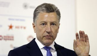 "Kurt Volker, U.S. special representative to Ukraine, speaks during the 15th Yalta European Strategy (YES) annual meeting titled ""The next generation of everything"" at the Mystetsky Arsenal Art Center in Kyiv, Ukraine, Saturday, Sept. 15, 2018. (AP Photo/Efrem Lukatsky) ** FILE **"