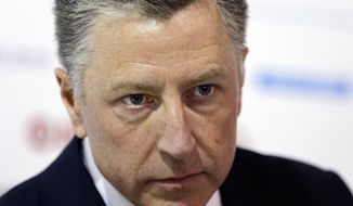"U.S. special representative to Ukraine Kurt Volker attends the 15th Yalta European Strategy (YES) annual meeting entitled ""The next generation of everything"" at the Mystetsky Arsenal Art Center in Kiev, Ukraine, Saturday, Sept. 15, 2018. (AP Photo/Efrem Lukatsky)"