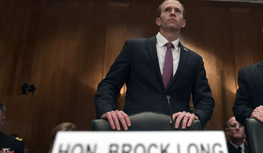 Federal Emergency Management Agency Administrator Brock Long arrives to testify before the Senate Governmental Affairs Committee on Capitol Hill in Washington, Tuesday, Oct. 31, 2017, during a hearing on the federal response to the 2017 hurricane season.  Long said the challenge presented by hurricanes Irma, Harvey and Maria is unprecedented in the history of his agency. (AP Photo/Susan Walsh)